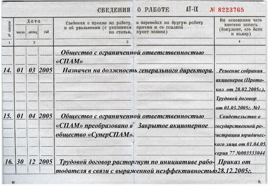 Купить помощь в заполнении записей в трудовой книжке сзи 6 получить Внуковская Большая улица